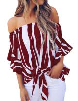 CoolooC Women's Striped Off The Shoulder Tops 3 4 Flare Sleeve Tie Knot Blouses Shirts