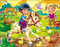 Larsen Puzzles Farm Kids with Pony Children's Educational Jigsaw Puzzle - 16 Piece Tray & Frame Style Puzzle - Exclusive Premium Handmade Puzzles - Imported from Norway