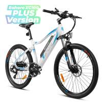 Eahora XC100 26Inch Electric Mountain Bicycle 48V 350W Cruise Control 10.4Ah Removable Battery Urban Commuter Electric Bike for Adults Power Regeneration E-Bike Color LCD Display 7 Speed, White