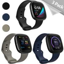 Mocodi Sense Bands Compatible with Fitbit Sense & Fitbit Versa 3, 3-Pack Soft TPU Sport Strap Replacement Wristband Accessories Women Men for Fitbit Sense & Versa 3 SmartWatch