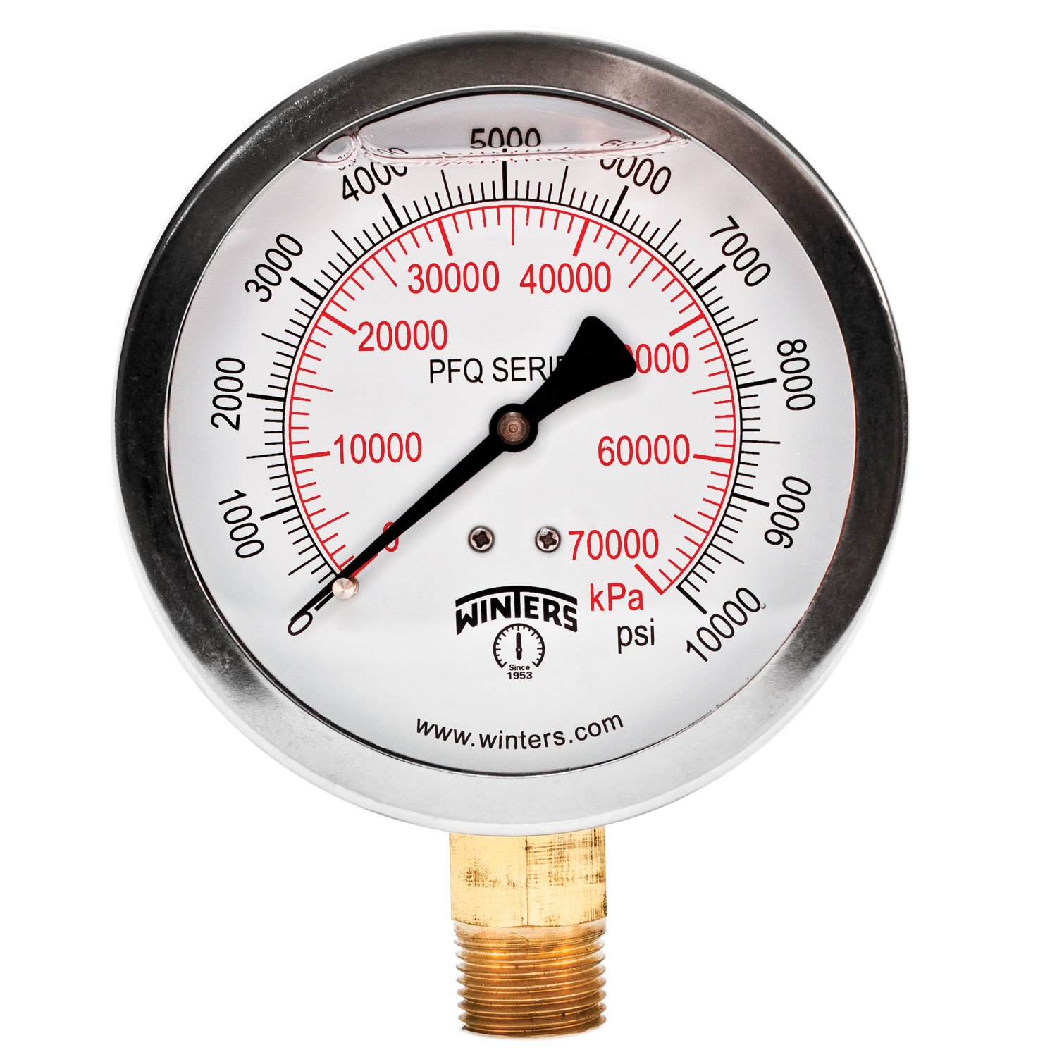 """Winters PFQ Series Stainless Steel 304 Dual Scale Liquid Filled Pressure Gauge with Brass Internals, 0-10000 psi/kpa,4"""" Dial Display, +/- 1.5% Accuracy, 1/2"""" NPT Bottom Mount"""