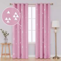 Deconovo Blackout Grommet Curtains Pair Thermal Insulated Window Curtains with Triangle Printed for Dining Room 52 x 84 Inch Pink 2 Panels