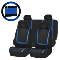 FH Group FH-FB032114 Unique Flat Cloth Car Seat Covers with FH2033 Steering Wheel Cover and Seat Belt Pads, Blue/Black Color- Fit Most Car, Truck, SUV, or Van