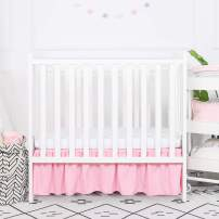 TILLYOU Mini Crib Skirt Ruffled, Microfiber Portable Crib Bed Skirt for Baby Girls and Boys, 24'' X 38'', 10.5'' Drop Pink