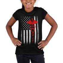 Youth USA Flag Red Premium Ringspun Tee Support Our Heroes EMT Nurses