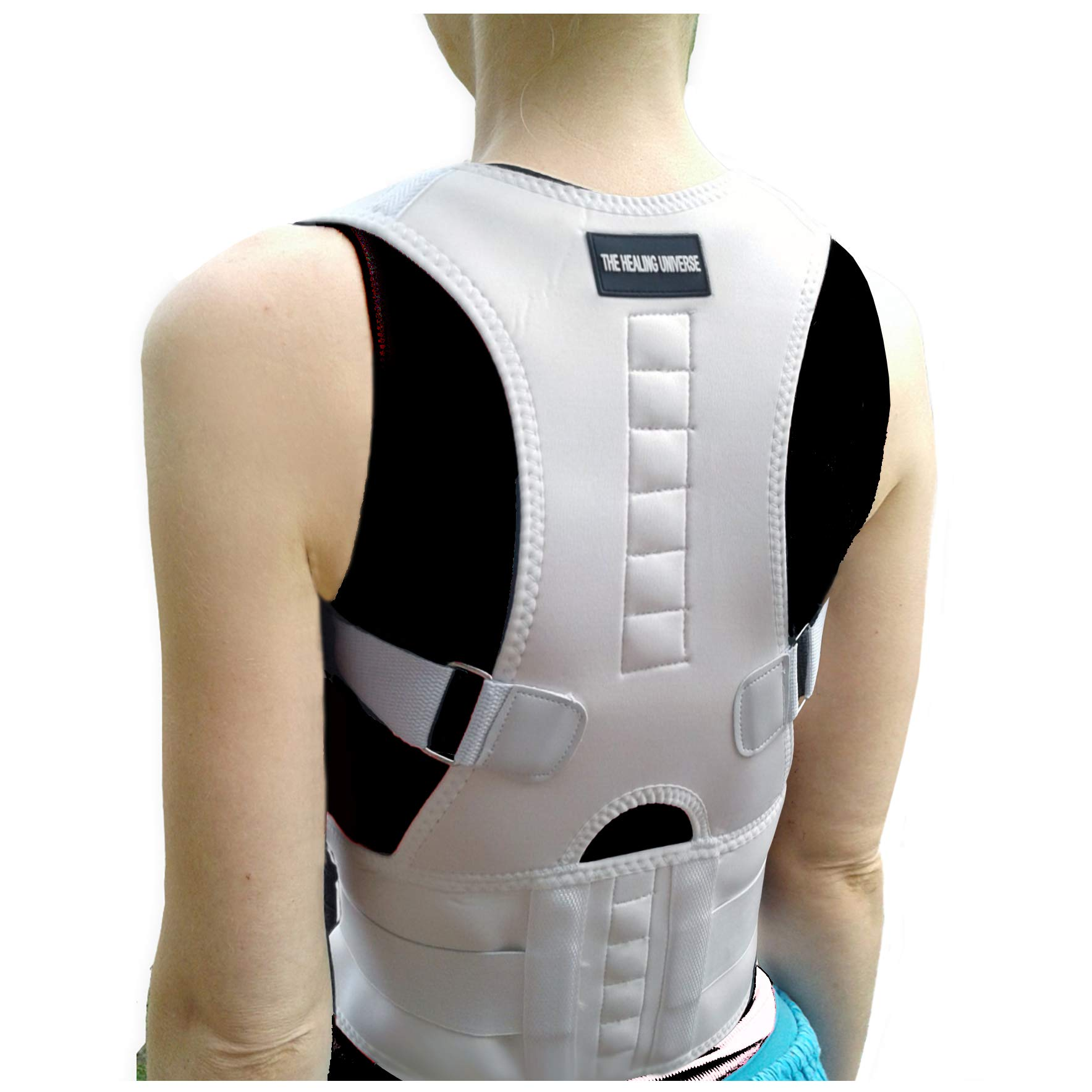 The Healing Universe Medical Back Posture Corrector - Thoracic & Lumbar Back Brace - Best Kyphosis Brace w Magnets - Full Spine and Back Pain Relief
