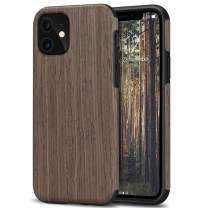 TENDLIN Compatible with iPhone 11 Case Wood Grain Outside Design TPU Hybrid Case (Black Rose Wood)