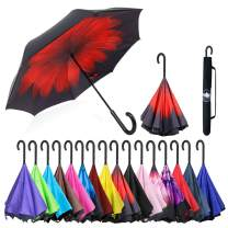 ABCCANOPY Inverted Umbrella,Double Layer Reverse Windproof Teflon Repellent Umbrella for Car and Outdoor Use, UPF 50+ Big Stick Umbrella with J Handle and Carrying Bag,red flower