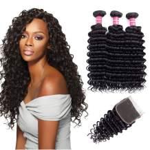 Brazilian Deep Wave 8A Unprocessed Virgin Hair 3 Bundles with Free Part Lace Closure Deep Wave Hair Bundles with Closure Natural Color(8 8 8+8 inch)