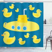"Ambesonne Rubber Duck Shower Curtain, Duckies Swimming in The Sea with a Yellow Submarine Kids Party Nautical Print, Cloth Fabric Bathroom Decor Set with Hooks, 70"" Long, Yellow"