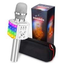 BONAOK Wireless Bluetooth Karaoke Microphone with controllable LED Lights, 4 in 1 Portable Karaoke Machine Speaker for Android/iPhone/PC (Silver)