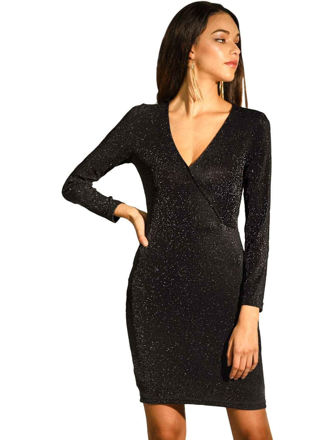 Allegra K Women's V Neck Long Sleeve Stretchy Sparkle Glitter Bodycon Dress