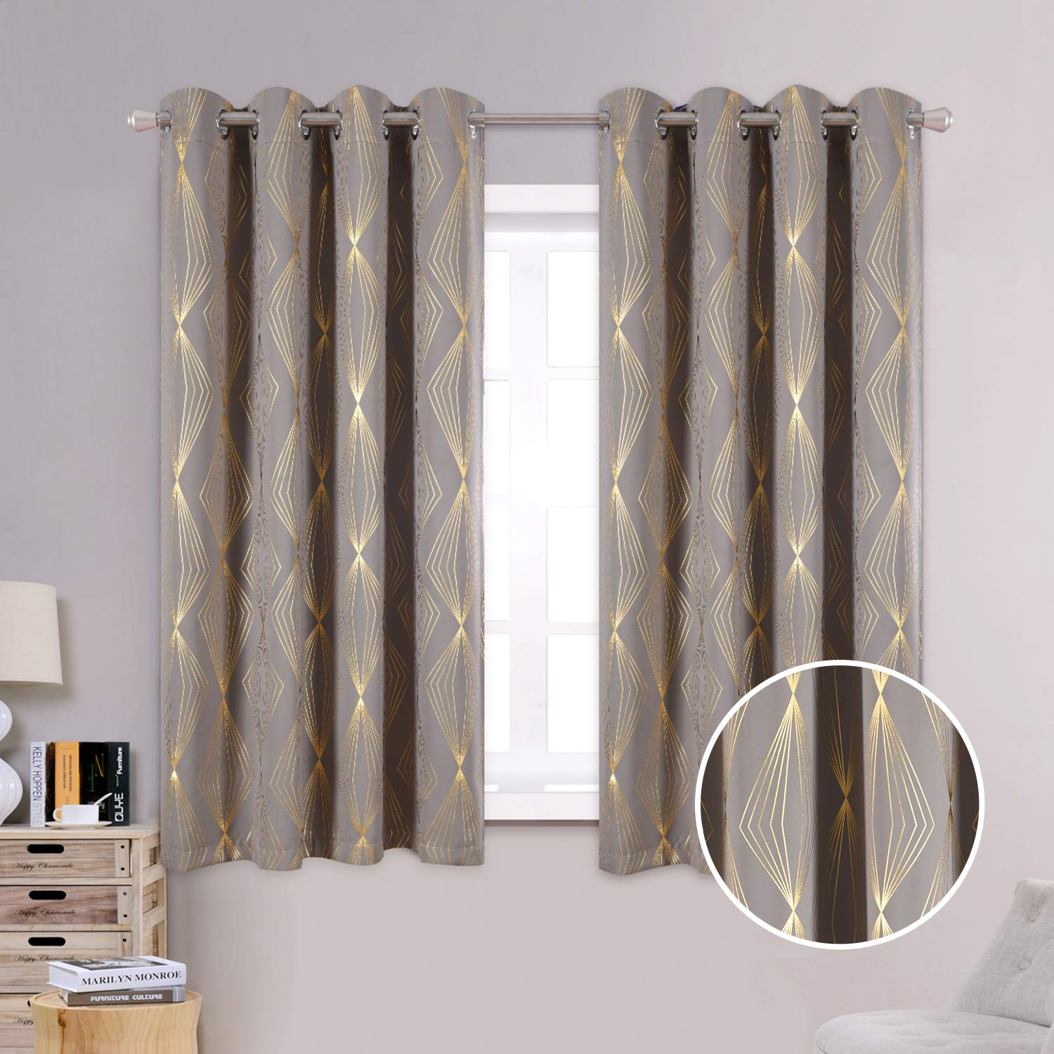 Anjee Blackout Curtains for Study Room with Foil Printed Diamond Pattern, 63 Inches Window Drapes with Grommet Top for Light Blocking, 52 x 63 Inches, Grey