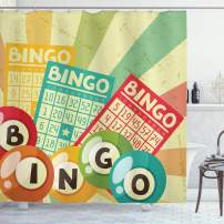 """Ambesonne Vintage Shower Curtain, Bingo Game with Ball and Cards Pop Art Lottery Hobby Celebration Theme, Cloth Fabric Bathroom Decor Set with Hooks, 70"""" Long, Yellow Green"""
