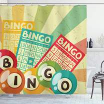 "Ambesonne Vintage Shower Curtain, Bingo Game with Ball and Cards Pop Art Lottery Hobby Celebration Theme, Cloth Fabric Bathroom Decor Set with Hooks, 70"" Long, Yellow Green"