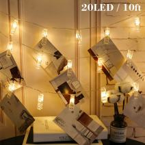 Twinkle Star 10ft 20 Photo Clips String Lights Battery Operated Fairy String Lights with Clips for Hanging Pictures, Cards, Artwork, Warm White