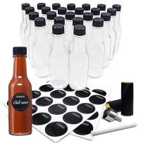 GMISUN Mini Hot Sauce Bottles 5 oz - 24 Pack Woozy Bottles with Black Caps, Shrink Capsules, Dripper Inserts, Funnel and Labels, Small Glass Bottle Dispenser for Homemade Hot Sauces, Dressings, Juice