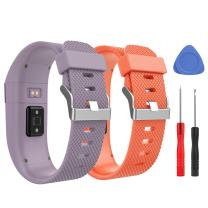 MoKo Band for Fitbit Charge HR, [2 Pack] Premium Soft Rubber Adjustable Replacement Strap for Fitbit Charge HR Fitness Wristband, Large Size, Light Purple & Orange