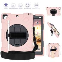 GROLEOA iPad 5th 6th Generation Case Anti-Drop Rugged Protective iPad 2018/2017 9.7 Case 360 Rotation Stand+Hand Strap+Shoulder Strap+Pencil Holder Case for iPad 5th 6th Air 2 Pro 9.7 (Black+Pink)