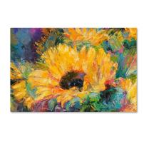 Blue Sunflowers by Richard Wallich, 12x19-Inch Canvas Wall Art