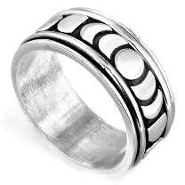 Boho-Magic 925 Sterling Silver Moon Phase Spinner Ring for Men and Women Celestial Jewelry