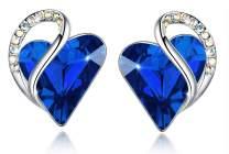 "Leafael""Infinity Love"" Heart Crystal Earrings Birthstone Jewelry Gifts for Women, Silver-tone"