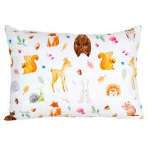 "ADDISON BELLE 100% Organic Toddler Pillowcase Fits Both 13""x18"" and 14""x19"" Pillows - Soft, Durable & Breathable (Woodland Animals)"
