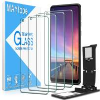 [4 Pack] MAYtobe Screen Protector For Samsung Galaxy A21s Tempered Glass with Easy Installation Tray, Anti Scratch, Bubble Free, 2.5D Edge, 9H Hardness