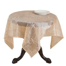 SARO LIFESTYLE BD16 Beaded Square Tablecloth, 60-Inch, Peach