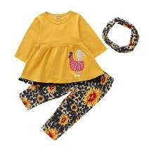 Thanksgiving Kids Toddler Little Girls Fall Outfit Ruffled Tassel Dress Shirt+ Turkey Print Pants Winter Clothes Set