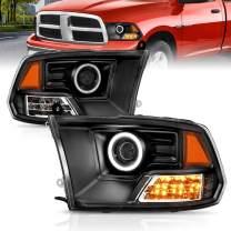 AmeriLite Black Projector Headlights Ultra-LED Halo For Dodge Ram - Passenger and Driver Side