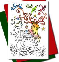 Art Eclect Adult Coloring Christmas Cards 20 Cards With 20 Unique Designs, 10 Red and 10 Green Envelopes Included (Christmas Set B2)