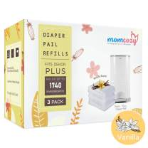 3 Count Dekor Plus Refills by Momcozy | Vanilla Scent | 22 Layers Extra Thickness | Fits Dekor Plus Size Diaper Pails | Biodegradable Disposable Diaper Pail Liner | Hold Up to 1740 Diapers