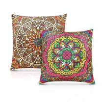 "AtailorBird Throw Pillow Cover Set of 2 Linen Square Cushion Case Mandala Pillowcase Decoration 18 x 18"" for Sofa Couch Car Window Seat,Colorful"