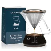 Pour Over Coffee Dripper Maker (17oz / 0.5L) - Unlock New Flavors with Paperless Stainless Steel Filter, Precision Measuring Cup and Carafe -