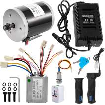 BestEquip Brushed Motor 12V 150W Electric Go Kart Motor 2500RPM 14.3A Electric Scooter Motor Kit with Speed Control,Twist Throttle,Key Lock and Charger for Mini Bike DIY