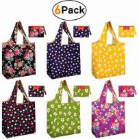 Reusable Shopping Tote Bags with Self Pouch Fit Car Console Purse Pocket Flat Bottom Eco Friendly Shrink Proof Floral