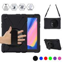 BRAECN Galaxy Tab A 8.0'' (2019) with S Pen case [SM-P200/P205],Heavy Duty Rugged Shockproof Protective Case with Rotating Kickstand,Hand Strap, Shoulder Strap for Galaxy Tab A 8.0 2019 Tablet (Black)