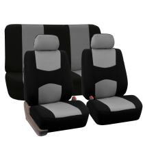 FH Group FB050112 + F14403 Flat Cloth Seat Covers (Gray) Full Set – Universal Fit for Cars Trucks & SUVs