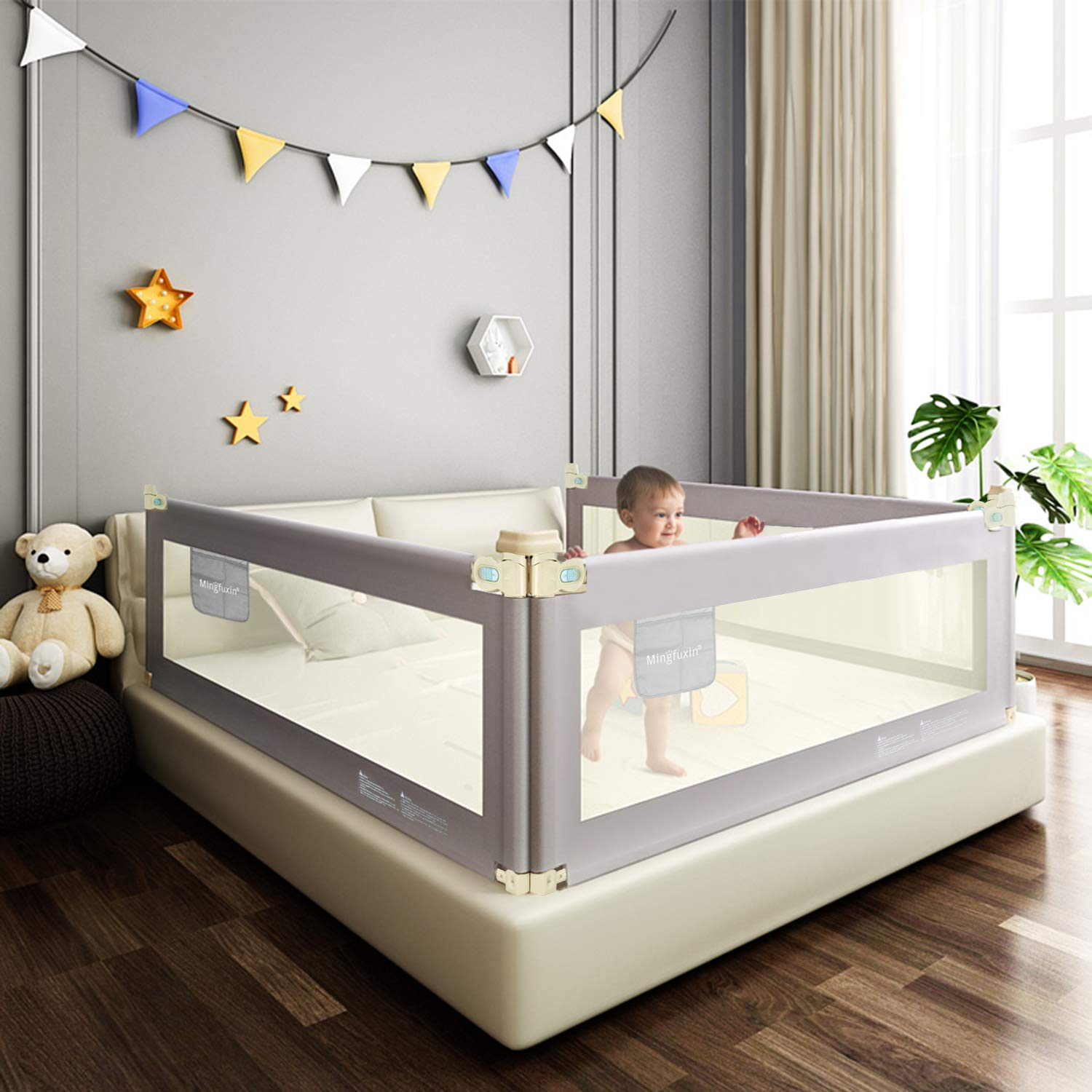 """Foldable Crib Rail Guard for Baby, Bed Guard Rails for Children, Adjustable Mesh Toddler Bed Rail with Vertical Lifting (59"""" - 1 Side only)"""