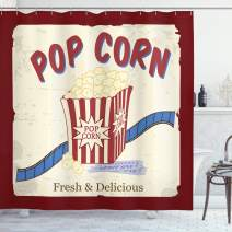 "Ambesonne Movie Theater Shower Curtain, Fresh and Delicious Pop Corn Film Tickets and Strip Advertising in 60s Theme, Cloth Fabric Bathroom Decor Set with Hooks, 75"" Long, Red Beige"