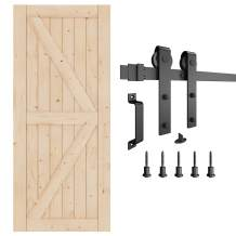EaseLife 36in x 84in Sliding Barn Door with 6.6FT Track Hardware & Handle Included,DIY Assemblely,Easy Install,K-Frame