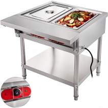 VBENLEM Commercial Electric Food Warmer 2 Pot Steam Table Food Warmer 18 Quart/Pan with Lids with 7 Inch Cutting Board Food Grade Stainless Steel Steam Table Serving Counter 110V 1500W for Restaurant