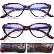 Cat Eye Reading Glasses for Womens - 2 Pack of Blue Light Blocking Readers
