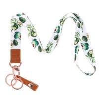 SUPGALIY Lanyard with Badge Holder Strap, Cute Lanyard for Teacher Women and Kids Printed Neck Strap Premium Leather Lanyard for Keychain Keys Mobile Phone Wallet ID Card (Avocado)