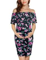 PRETTYLIFE Womens Off Shoulder Maternity Dress Floral Double Ruffle Ruched for Baby Shower Party