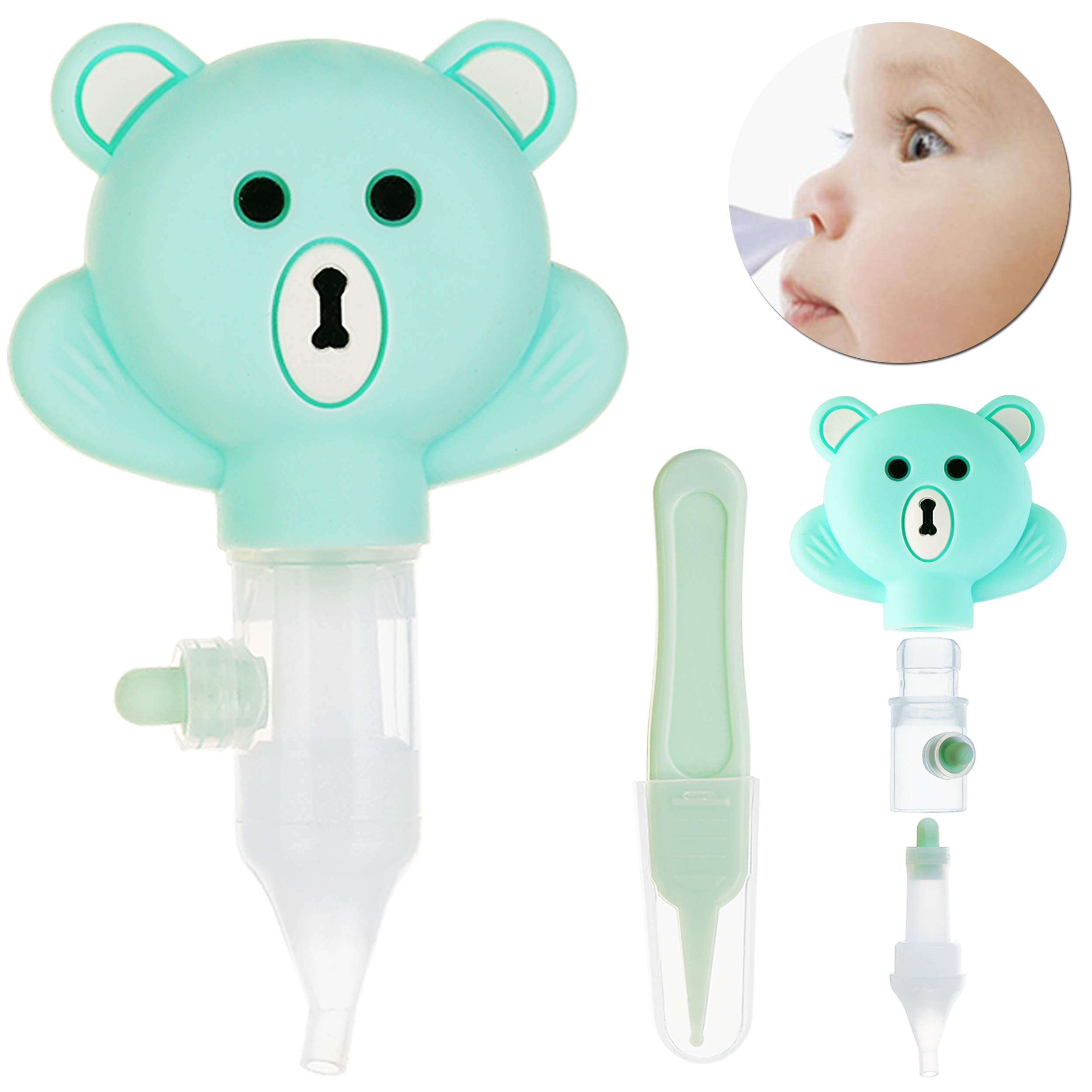 Baby Nasal Aspirator for Newborn,Mucus Sucker Suction,Snot Tweezers Set,Odorless Silicone Nose Cleaner,Easy to Disassemble, Washable and Reusable-Boxed More Portable and Sanitary-Best Gift (Green)
