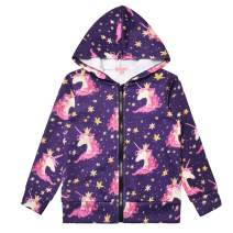 Girls Hoodie Unicorn Jacket Zip Up Sweatshirt Clothes with Pockets