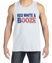 7 ate 9 Apparel Men's Red White Booze 4th of July White Tank Top