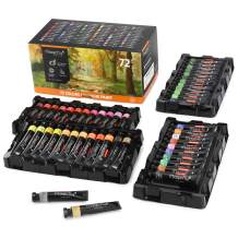 Magicfly Gouache Paint Tube, 72 Colors Paint Set(12 ml/0.4 fl oz), Non-Toxic Opaque Paints with Storage Box for Hobby Painters, Kids, Professional Artist, for Canvas pating, Toned Paper